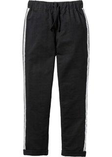 Трикотажные брюки с серебристыми лампасами, Размеры  116-170 (черный) Bonprix