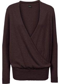 Пуловер с эффектом запаха (темно-баклажановый) Bonprix