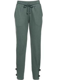 Трикотажные брюки с деталями в байкерском стиле (зеленый) Bonprix