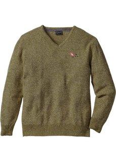 Пуловер с V-образным вырезом Regular Fit (зеленый) Bonprix