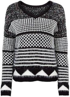 Вязаный пуловер (черный/белый с узором) Bonprix