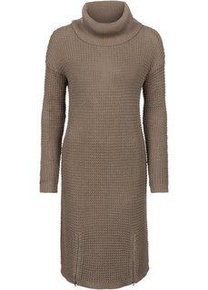 Вязаное платье (серо-коричневый) Bonprix