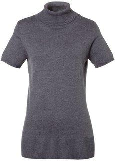Пуловер с высоким воротом и коротким рукавом (серый меланж) Bonprix