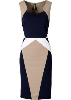 Платье под неопрен (темно-синий/бежевый) Bonprix