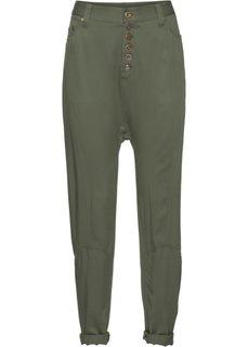 Укороченные брюки в стиле бэгги на длинной линии пуговиц (оливковый) Bonprix