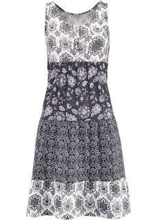 Трикотажное платье без рукавов (черный с узором) Bonprix