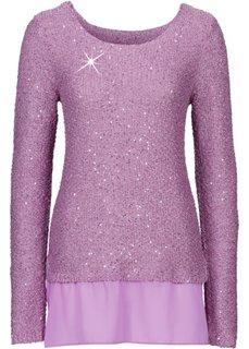 Пуловер расшитый пайетками (ежевичный матовый) Bonprix