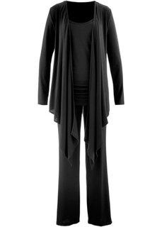 Брюки + топ + куртка (3 изд.) (черный) Bonprix