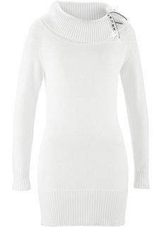 Длинный пуловер (цвет белой шерсти) Bonprix