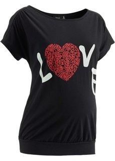 Мода для беременных: футболка с принтом сердечка (черный) Bonprix