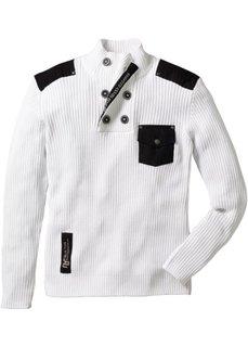 Эффектный пуловер облегающего покроя (белый) Bonprix