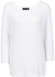 Тонкий пуловер с рукавами летучая мышь (белый) Bonprix
