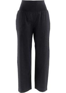 Льняные брюки-кюлоты (черный) Bonprix