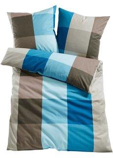 Постельное белье Ницца, линон (синий/серо-коричневый) Bonprix