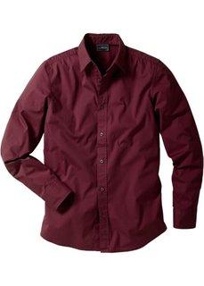 Рубашка стретч зауженного покроя (бордовый) Bonprix