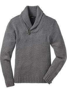 Пуловер с шалевым воротом Regular Fit (серый меланж) Bonprix
