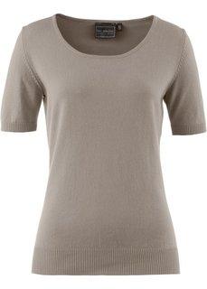 Пуловер с коротким рукавом (серо-коричневый) Bonprix