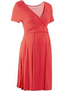 Мода для беременных: трикотажное платье-стретч с коротким рукавом (клубничный/белый в горошек) Bonprix