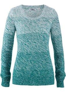 Пуловер меланж с цветовым переходом (темно-изумрудный) Bonprix