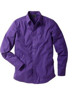 Рубашка стретч зауженного покроя (лиловый) Bonprix