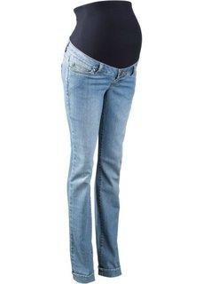 Классические джинсы для будущих мам с эластичным поясом и отворотами по нижним краям, cредний рост (N) (голубой выбеленный) Bonprix