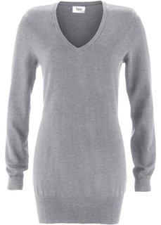Длинный пуловер тонкой вязки (серый меланж) Bonprix
