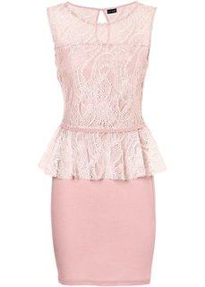 Коктейльное платье с кружевной верхней частью (дымчато-розовый) Bonprix