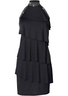 Короткое трикотажное платье (черный) Bonprix