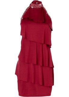 Короткое трикотажное платье (темно-красный) Bonprix