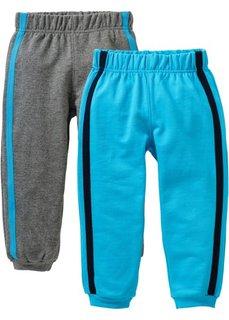 Трикотажные брюки (2 шт.) (бирюзовый + серый меланж) Bonprix