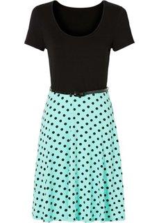 Трикотажное платье (черный/синий ментол) Bonprix