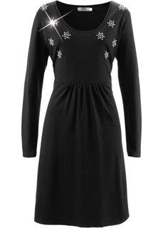 Трикотажное платье со стразами и длинным рукавом (черный) Bonprix
