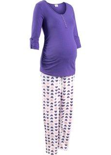 Пижама для кормящих мам (2 изделия) (лиловый/с рисунком) Bonprix