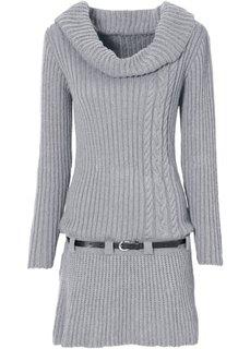 Трикотажное платье и ремень (серый меланж) Bonprix