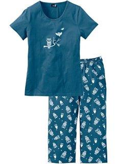 Пижама с брюками капри (серо-синий/белый) Bonprix
