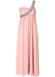 Макси-платье на одно плечо (дымчато-розовый) Bonprix