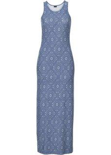 Трикотажное макси-платье (синий с узором) Bonprix