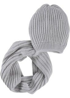 Шапка + шарф Прага (2 изд.) (серый) Bonprix