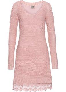 Вязаное платье с кружевными воланами внизу (дымчато-розовый) Bonprix