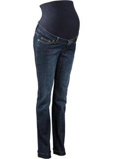 Классические джинсы для будущих мам с эластичным поясом и отворотами по нижним краям, cредний рост (N) (темно-синий «потертый») Bonprix