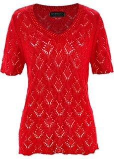 Ажурный пуловер с коротким рукавом (клубничный) Bonprix