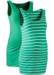 Мода для беременных: танк-топ (2 шт.) (нефритовый + нефритовый/белый в полоску) Bonprix