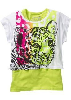 Короткая футболка + тэнк топ (2 изделия в упаковке) (белый с рисунком тигра/зеленый киви) Bonprix