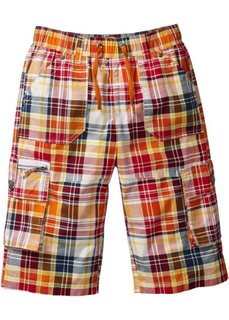 Бермуды с карманами (клубничный/оранжевый в клетку) Bonprix