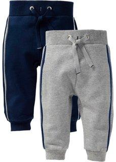 Мода для малышей: трикотажные брюки (2 шт.) (светло-серый меланж/темно-синий) Bonprix