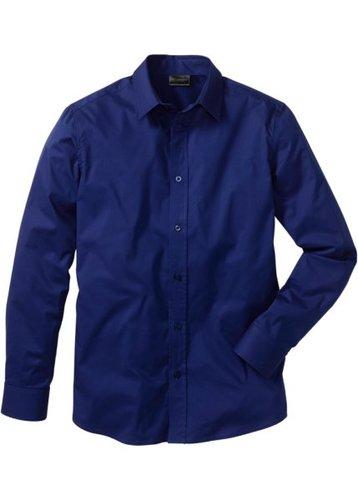 Рубашка стретч зауженного покроя (ночная синь)