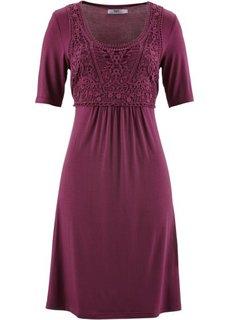 Платье с кружевной вставкой и коротким рукавом (красная ягода) Bonprix
