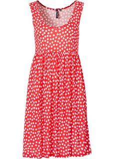 Трикотажное платье (омаровый/белый в горошек) Bonprix
