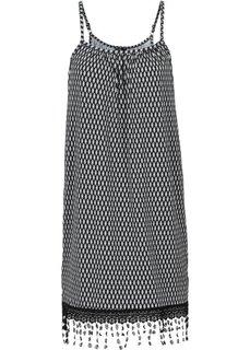 Трикотажное платье с вязаным кружевом (черный/белый) Bonprix