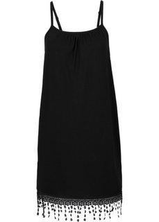 Трикотажное платье с вязаным кружевом (черный) Bonprix